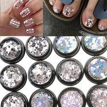1*AB Silver Nail Art Glitter Sequins Irregular Paillette Flakes 3D Mixed Strip/Square/Rectangle Polish Holo Nail Charm Glitter