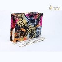 Rectangle coconut tree print flap lady clutch bags chain hasp hard small evening handbag high quality borsetta donne 8179 3