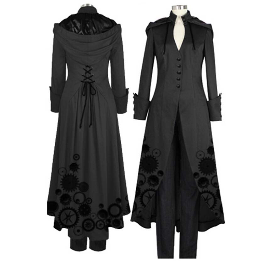 Outfit Cloth Punk-Coat Steampunk Long-Jackets Medieval Autumn Fashion Women Ladies Cosplay