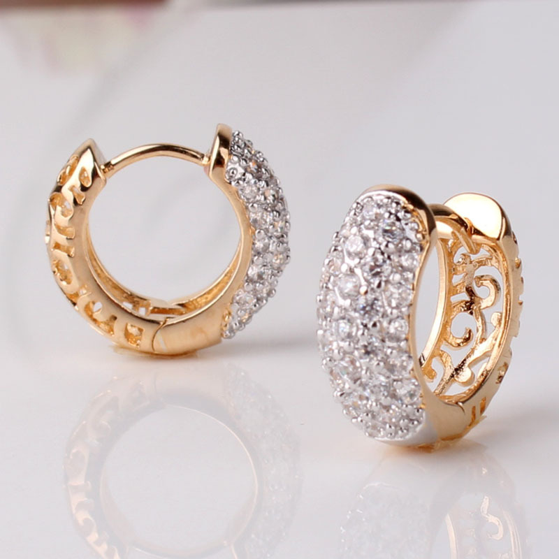 GULICX Round Crystal Earrings for Women Gold color Hoop Earrings CZ Stone Cubic Zirconia Earring Vintage Jewelry E133 in Hoop Earrings from Jewelry Accessories