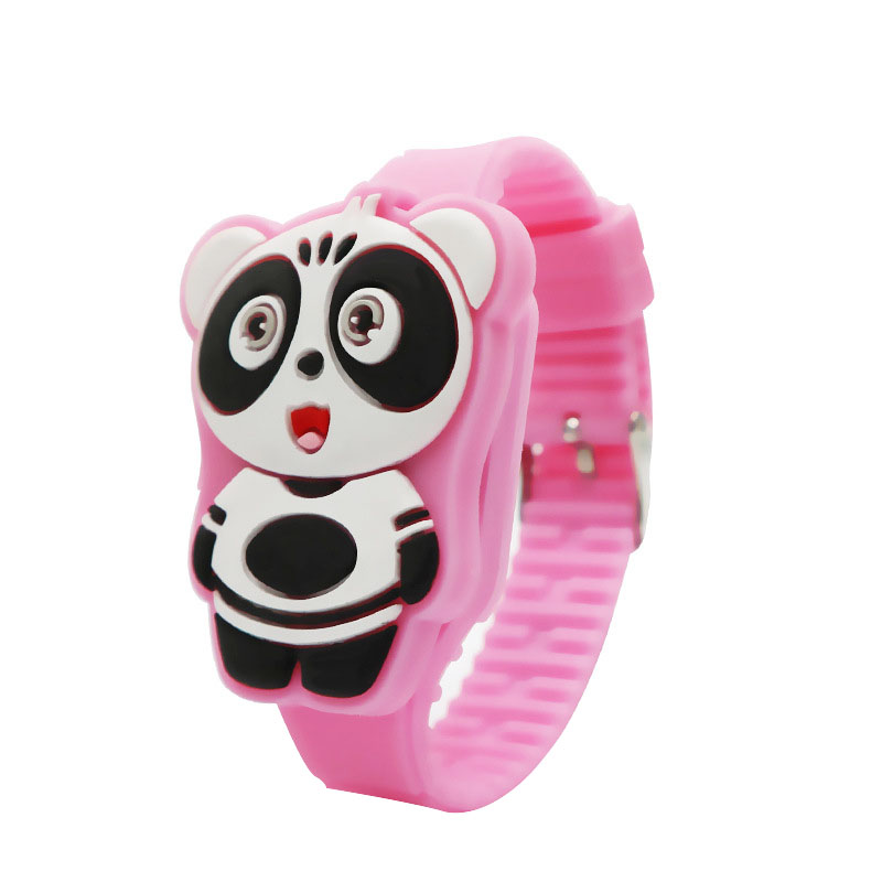 Giá bán 1 Pcs Kids LED Electronic Watch Silicone Band Cartoon Panda Flip Case Wrist Watch Lovely Gift LXH
