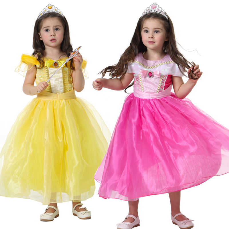 Beauty And The Beast Belle Costume Girls Adult Costumes Kids Cosplay Princess Gril Yellow Pink Dress Aurora Halloween Sleeping