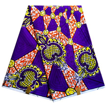 Polyester New African textiles,Purple wax fabric, Ankara Wax Print Fabric for dress 6 yards LBLD-74