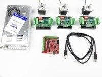 CNC mach3 USB 3 Axis Kit, 3pcs TB6560 driver+ mach3 USB stepper motor controller board+ 3pcs nema17 stepper motor +power supply