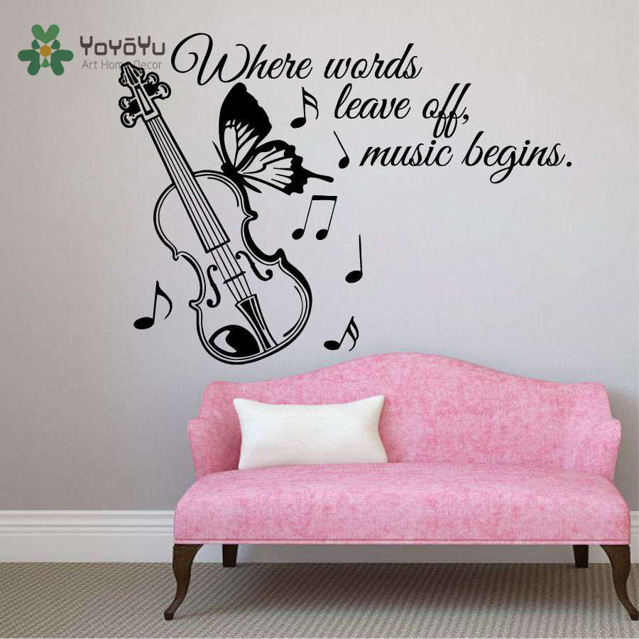 YOYOYU Wall Decal Vinyl Art Removeable Wall Decor Quote quot Where Words Leave Off Music Begins quot Note Guitar Mural Sticker YO444 in Wall Stickers from Home amp Garden