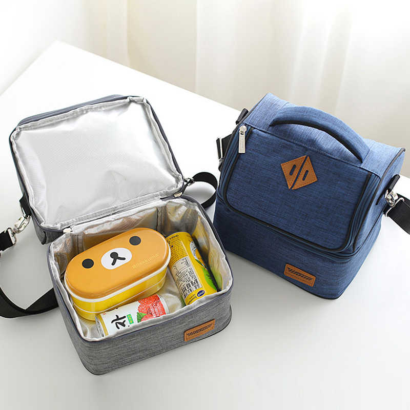 Mihawk Shoulder Strap Lunch Bag Keep Fresh Waterproof Food Box Insulation Cooler Bags Portable Picnic Work Picnic Zip Pouch Gear