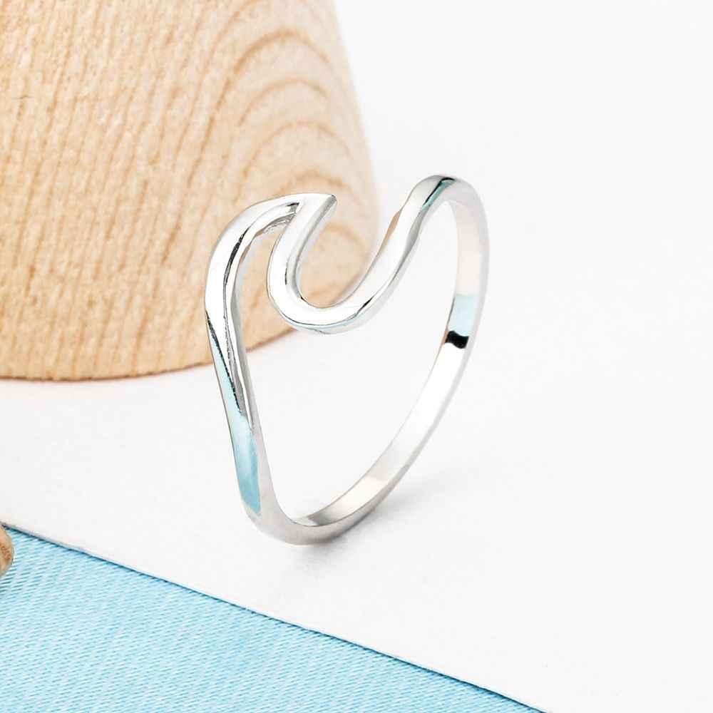 สไตล์เรียบง่าย 925 แหวนเงินสเตอร์ลิงสำหรับสตรี Wave ขนาด 5 6 7 8 9 10 ของขวัญเพื่อนเครื่องประดับ Fine (Lam Hub Fong)
