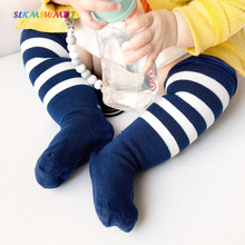 SLKMSWMDJ spring autumn new cotton stockings baby boys and girls over knee stripes pattern for 0-1-3 years old