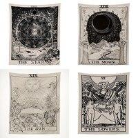Таро Астрология психоделический гобелен колдовство настенный гобелен гадание Солнце Луна Настенный Ковер настенные украшения для гостино...