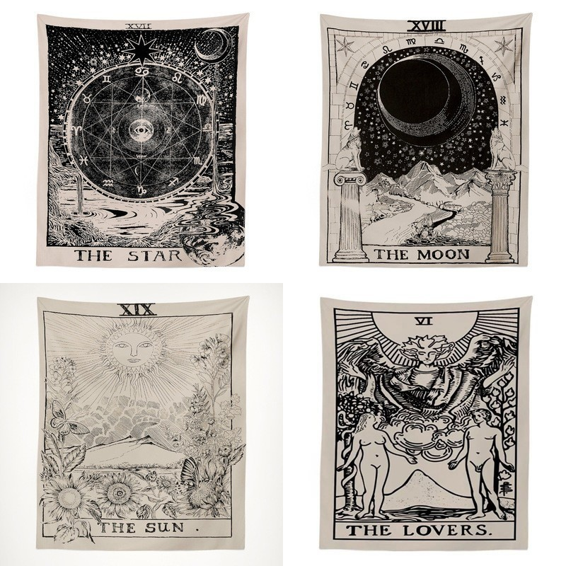 Tarot Astrology Psychedelic Tapestry Witchcraft Wall Hanging Tapestry Divination Sun Moon Wall Rug Wall Decorations Living Room