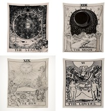 Tarot Astrology Psychedelic Tapestry Witchcraft Wall Hanging Divination Sun Moon Rug Decorations Living Room