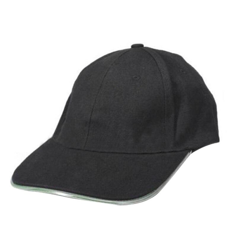 SAF 2016 NEW 2 * LED Lighted Glow Hat Black Fabric Baseball Golf Hip-hop Sports Cap Men Women(Green light)