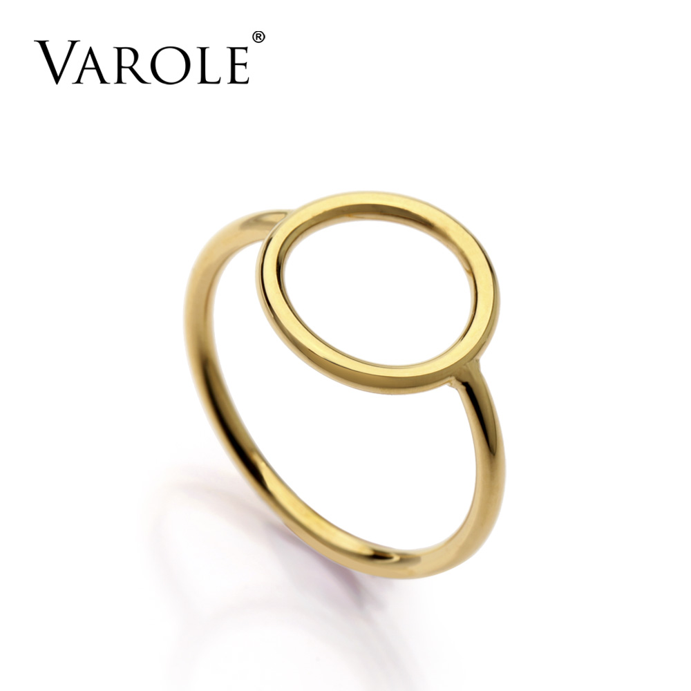 VAROLE Brand New Gold Color Simple Circle Rings For Women Party Finger Ring Female Fashion Girl Prevent Allergy Jewelry