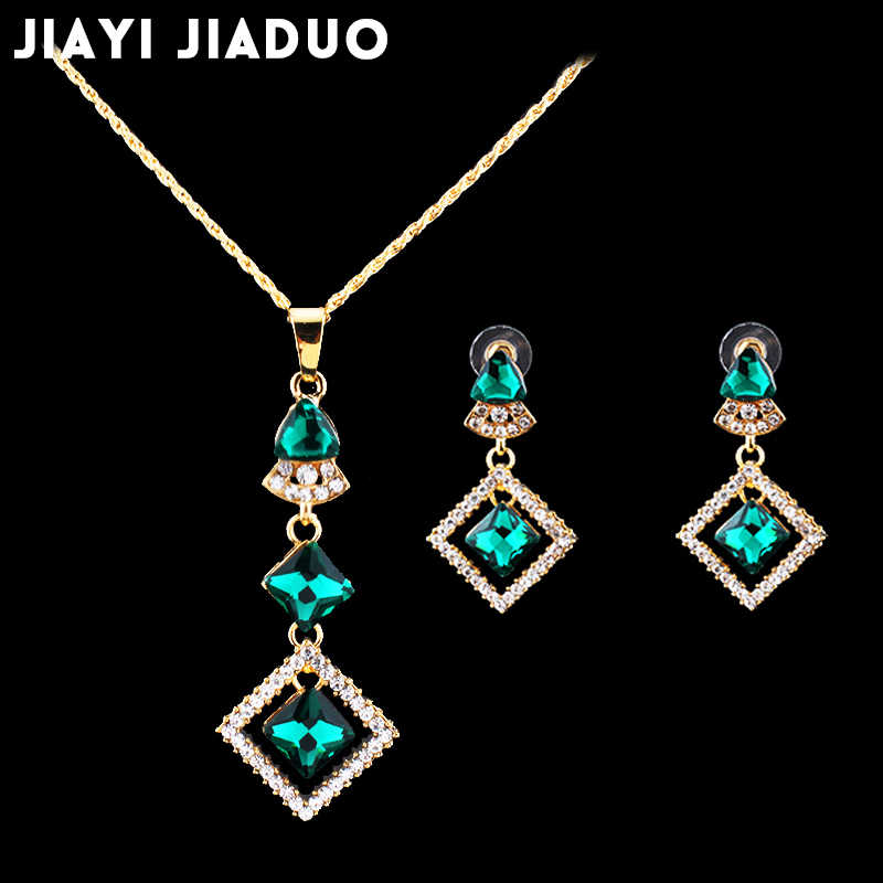 jiayi jiaduo african beads jewelry set  for women Green glass necklace earrings gold-color Casket for decorations