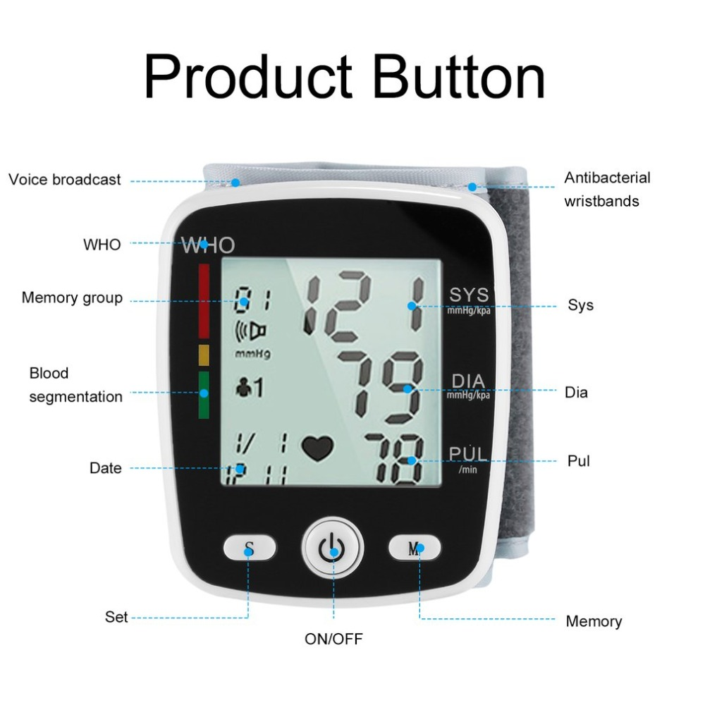Digital LCD Wrist Blood Pressure Monitor Heart Beat Rate Pulse Measure Device Voltage Power Detection Low Power Consumption HOT