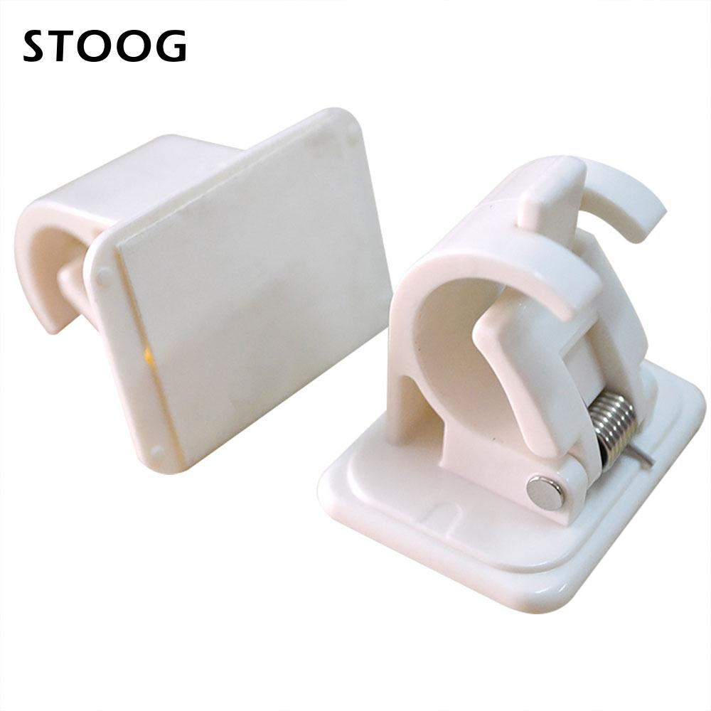 2pcs lot curtain rod bracket hang lever clamp removable wall hooks rack tools plastic securing clips kitchen bathroom home decor