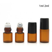 6 Pcs Amber Mini Refillable Essential Oil Roller Ball Bottle Empty Glass Roll On Refillable Bottles