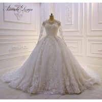 アマンダデザイン brautkleid 長袖レースのアップリケの花のウェディングドレス