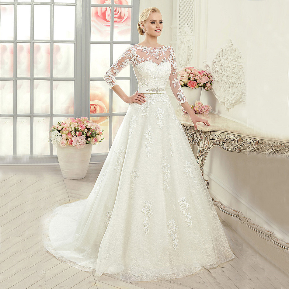 Wedding Dresses 3 4 Sleeves Lace : Sleeves back beaded belt a line lace wedding dress gowns