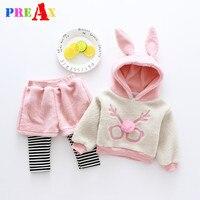 Baby Girl Clothing Sets 2018 Cartoon Pattern Autumn Winter Warm Toddler Hooded Jacket Pants 9M 1