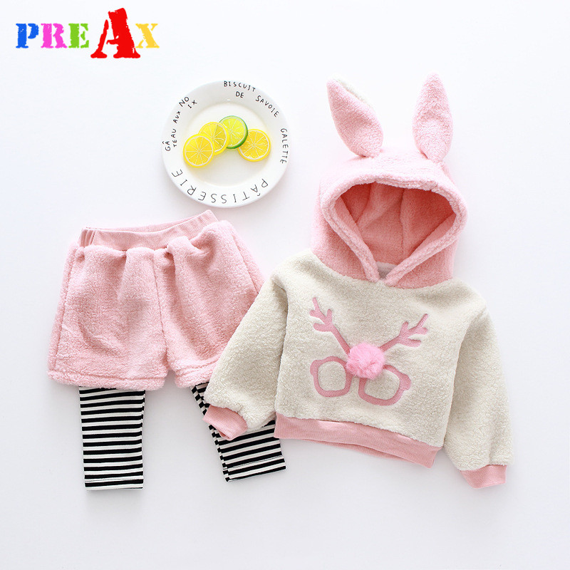 Baby Girl Clothing Sets 2018 Cartoon Pattern Autumn Winter Warm Toddler Hooded Jacket + Pants 9M 1 2 3 4 Years Kid Clothing Suit 2017 new cartoon pants brand baby cotton embroider pants baby trousers kid wear baby fashion models spring and autumn 0 4 years