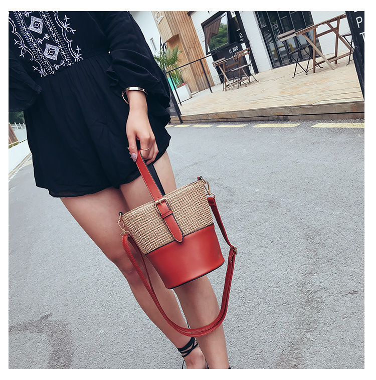 2018 Summer Femme beach bucket bag bao bao Women totes straw bag new fashion high quality brown red black color shoulder bag