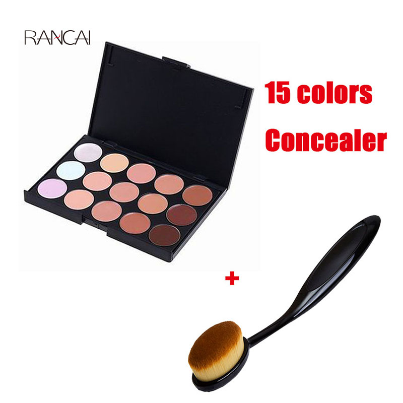 RANCAI Soft Small Oval Makeup Tooth Brushes Powder Brush + 15 Color Concealer Palette Facial Natural Cream Contour Beauty Tools professional concealer palette 15 color makeup facial concealer camouflage cream palette 10pcs cosmetic makeup brushes set