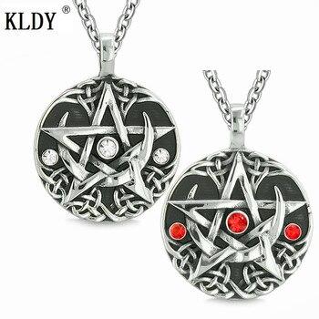 faf99383e94e KLDY collares de cristal colgantes para mujer amuleto de acero inoxidable  pentagrama colgantes amor eterno pareja collar Magic Star Jewelry