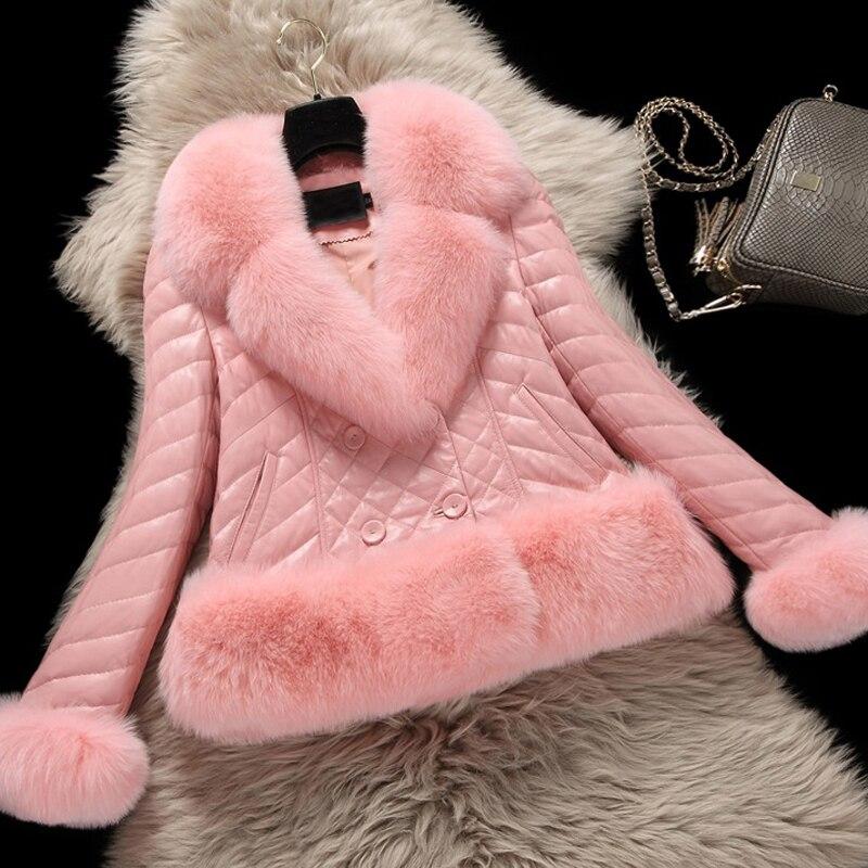 Plus Size Winter Women Faux Fox Fur Coat Luxury PU   Leather   Jacket With Large Fur Collar Women Gilet Fourrure manteau femme Pink