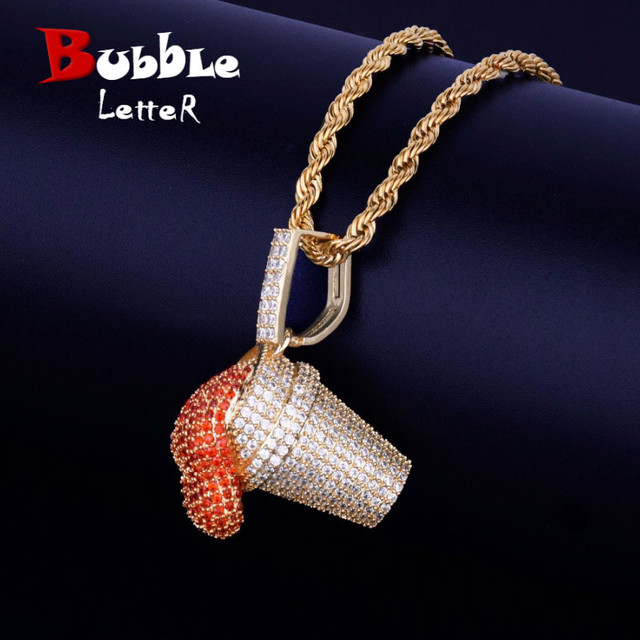 Mens Lean Red Color Cup Drank Iced Pendant Necklace Free Steel Rope Chain Gold Color Cubic Zircon Hip hop Jewelry For Gift