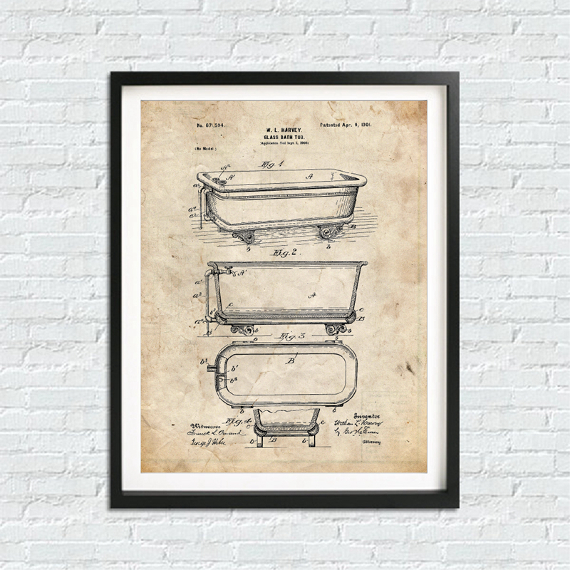 Bathroom Blueprints Wall Art Print