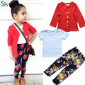 2017 Primavera Otoño de la muchacha del niño ropa de algodón establece la muchacha de la chaqueta + camisa + pantalones de la flor de los bebés 3 unidades ropa fijada