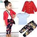 2017 Primavera Outono conjuntos de roupas de algodão da menina da criança da menina jaqueta + camisa + calça de flores das meninas do bebê 3 peça roupa dos miúdos definir