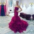 High-end personalizado vestido de baile querida 2017 vestidos de fora do ombro organza longo prom vestidos sereia prom dress