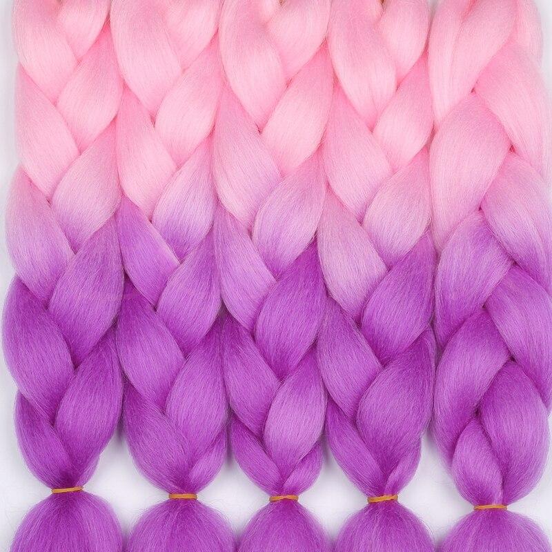 MERISIHAIR 24 pulgadas Ombre extensiones de cabello de ganchillo sintético Jumbo trenzas peinados Rosa Rubio rojo azul trenzado de cabello