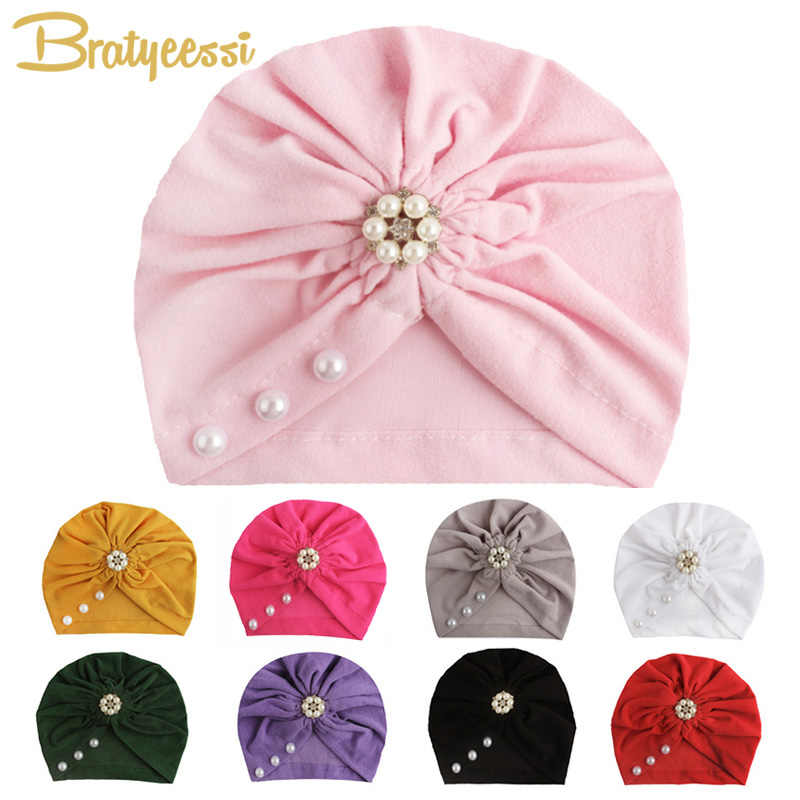 New Baby Hat for Girls Bohemia Baby Girl Hat with Pearls Photography Props Newborn Turban Hats Kids Beanie Baby Cap