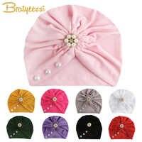 Sombrero de bebé para niña, sombrero bohemio para bebé con perlas, accesorios de fotografía, sombreros de turbante para recién nacido, gorro para bebé