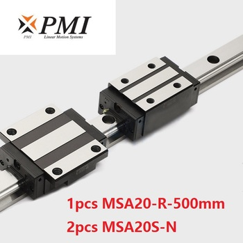 1pcs Taiwan PMI MSA20-R 500mm linear guide rail and 2pcs MSA20S-N Block Carriages for CO2 laser machine CNC router MSA20SSSFCN