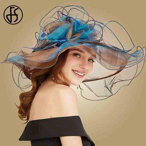 Image 3 - FS 2019 różowy Kentucky Derby kapelusz dla kobiet Organza kapelusze przeciwsłoneczne kwiaty eleganckie lato duże szerokie rondo panie ślub kościół Fedoras