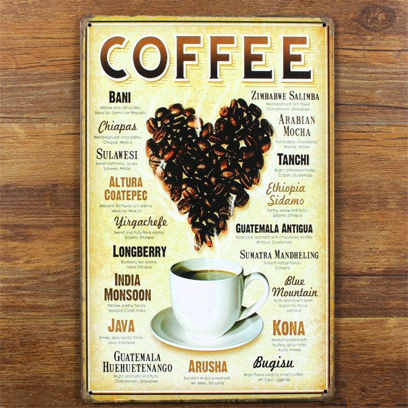 Coffee Kinds Home Decor Shabby Chic Tin Signs Tin 20*30 CM Vintage Metal  Sign Home Decor For Cafe Wall Decoration