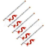 5Set White Paint Traditional Chinese Bamboo Flute Dizi Pluggable F Key Musical Instrument
