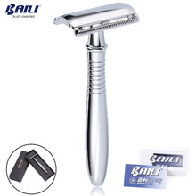 BAILI Manual Chrome Long Handle Men's Barber Shaving Safety Blade Razor Classic Stainless Shaver +5 Blades +Case BD191