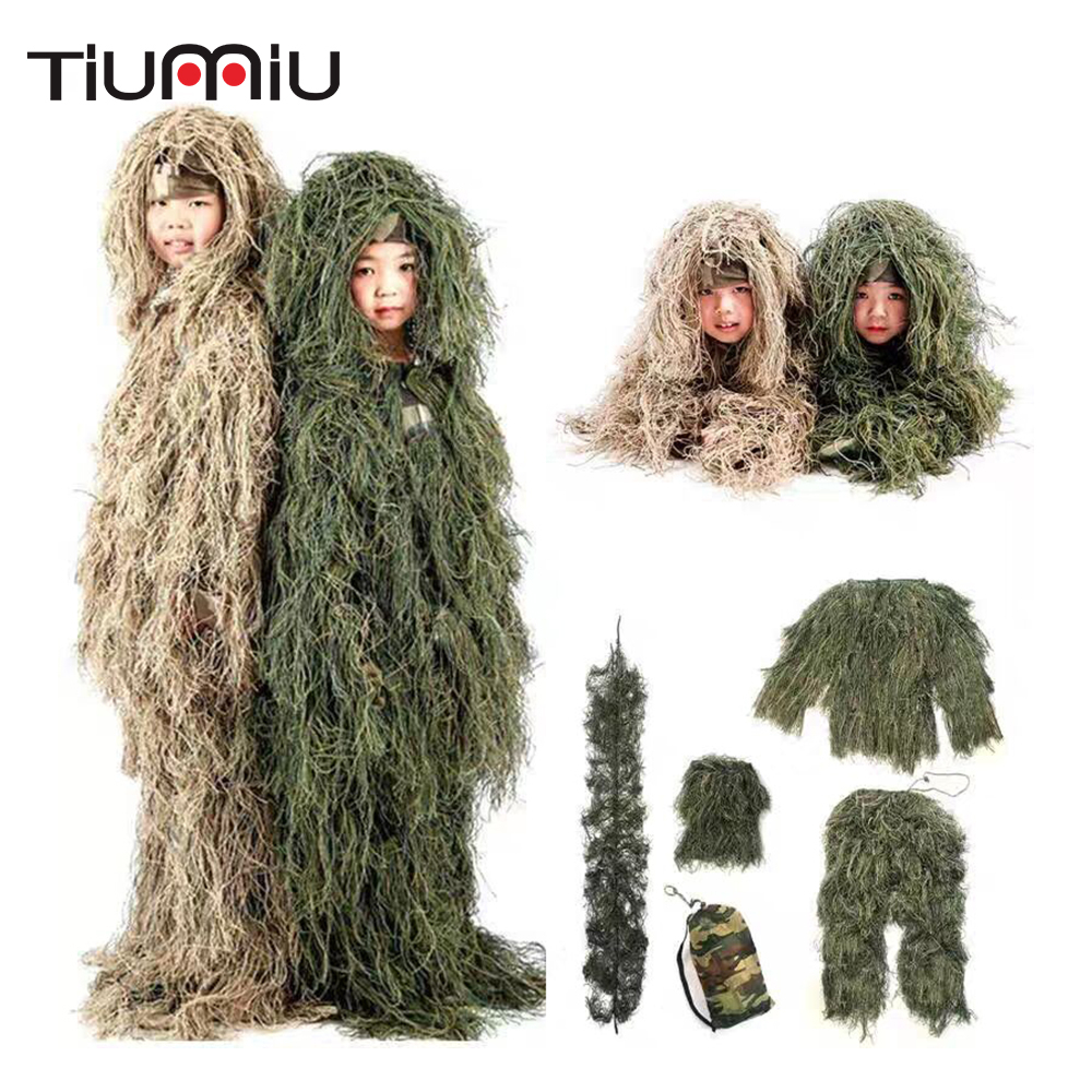 Children Adult Sniper Jungle Combat Ghillie Clothes Outdoor Camping Hunting Training CS Shooting Stealth Tactical Ghillie Suits