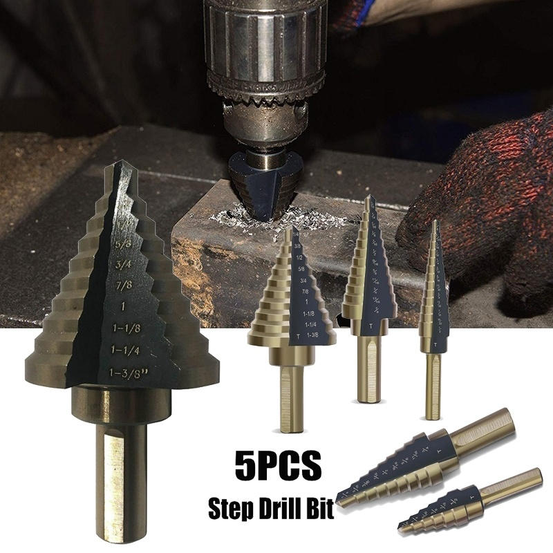 5pcs HSS Step Drill Bit High Speed Steel Cobalt Nitriding Spiral Metal Drill Bit Triangle Shank