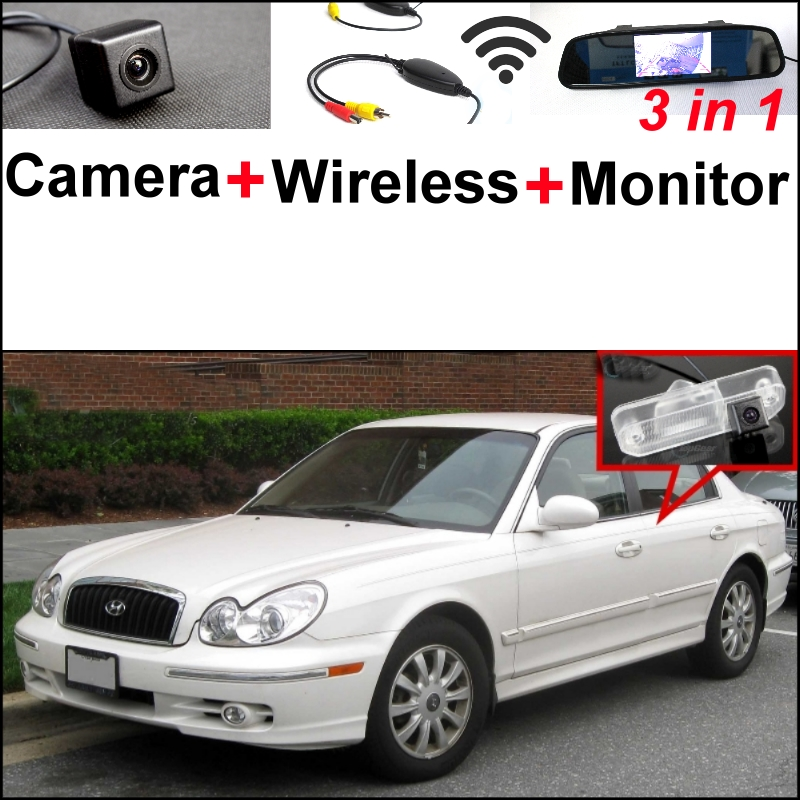 3 in1 Special Rear View Camera + Wireless Receiver + Mirror Monitor Easy Parking System For Hyundai Sonica Facelift 2001~2005 wireless pager system 433 92mhz wireless restaurant table buzzer with monitor and watch receiver 3 display 42 call button
