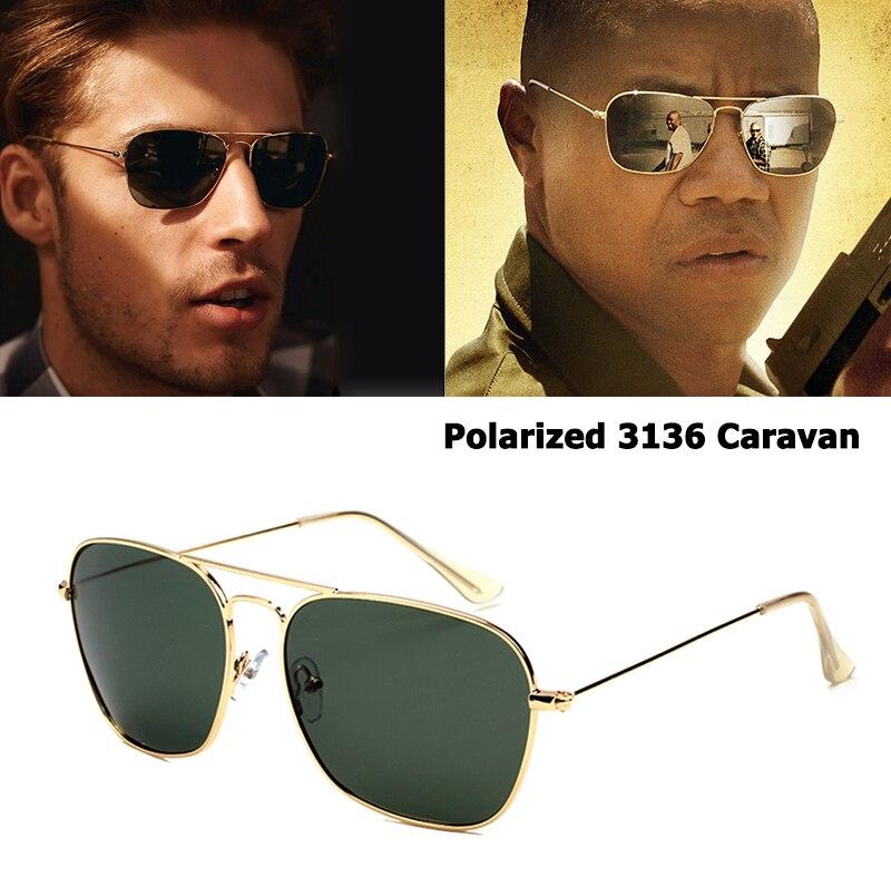 JackJad Estilo Clássico 3136 CARAVANA Polarizada Quadrado Aviação Óculos De Sol Dos Homens Do Vintage Retro de Design Da Marca Óculos de Sol Oculos de sol