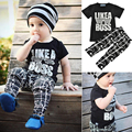 2PCS Newborn Baby Toddler Black Short Sleeve Letter T Shirt Pants Clothes Outfit