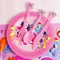 My Cute Little Horse Pony Cartoon Theme Birthday Party Tool Room Decoration Dishes x 10 + Spoon x 10 + Fork x 10 + Knife x 10