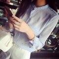 2015 Корейский Стиль Лето Женщины Блузки Стоять Воротник Манжеты Лук Шифона Рубашку Случайные Свободные Белые Вершины Плюс размер женщин одежда