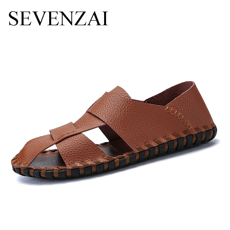 Mens Summer Shoes 2018 Brand Genuine Leather Men Sandals Fashion Sandals And Slippers Shoes Casual Leather